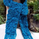 Handmade Scarf Blue Wool With Metalic Threads