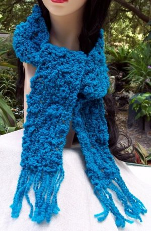 Handmade Scarf Blue Wool With Metalic Threads