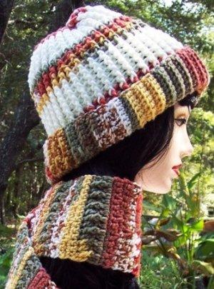 Rust Cream Sage Crochet Hat & Scarf Set Handmade