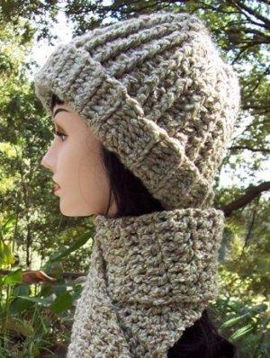 Sage Hat & Scarf Set-Handmade Crochet