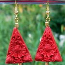 Red Cinnabar Traingle Earrings Handmade