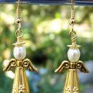 Gold Christmas Angel Earrings Handmade
