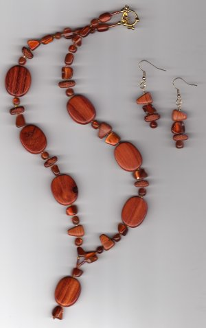 Bayong Wood Necklace & Earring Set, Handmade