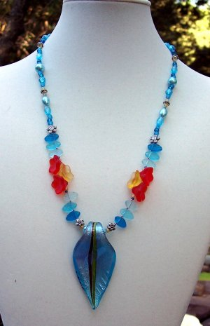 Misty Blue Garden-Handmade Necklace
