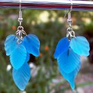 Frosted Blue Glass Leaf Earrings-Handmade