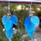 Frosted Blue Glass Leaf Earrings-Handmade