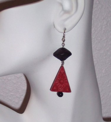 Red Cinnabar Drop Earrings Handmade