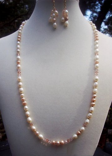 Freshwater Pearls & Swarovski Crystal Necklace & Earrings Set  Handmade
