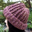 Handmade Crochet Hat  Plum Tweed