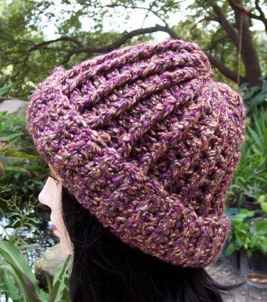 Handmade Crochet Hat  Plum Tweed