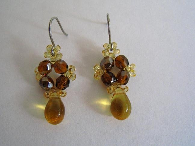 Czech and Drop Beads Honey Earrings