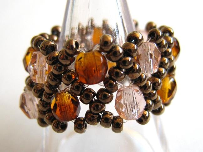 Czech Beads Pink and Brown Ring