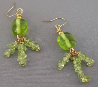 Wild Peridot Fringe Lampwork Gold Earrings brbb150