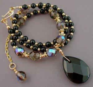 Necklace Black Briolette Teardrop Smoky Crystals br423291