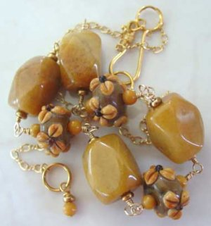 Gold Necklace Lampwork Chunky Honey Jade Toffee br423270