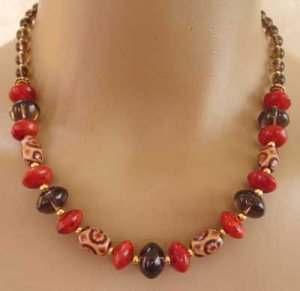 Necklace Red Coral Smoky Quartz Hand Painted Wood br423114