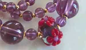 Necklace Red Hat Society Purple Glass Red Coral Artisan Lampwork br423102