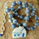 Necklace Lapis Blue Primitive Folk Art Vintage House br42378
