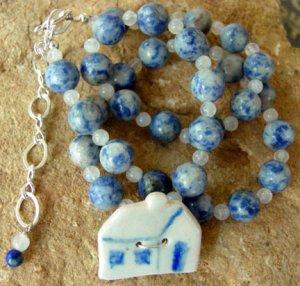 Necklace Lapis Blue Primitive Folk Art Vintage House br42378