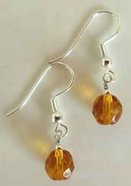 Amber Crystal Silver Earrings brbb118