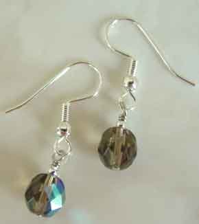 Smoky AB Crystals Silver Earrings brbb125