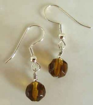 Tawny Brown Crystal Silver Earrings brbb126