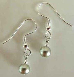 Metallic Green Pearl Silver Earrings brbb128