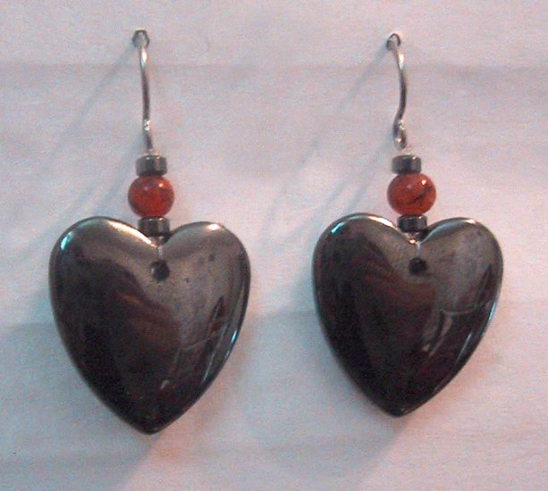 Hematite HEART Pierced Earrings