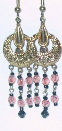 Mauve/Black/Gold Clip-On Earrings