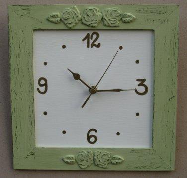 Light Green Shabby Chic Wall Clock