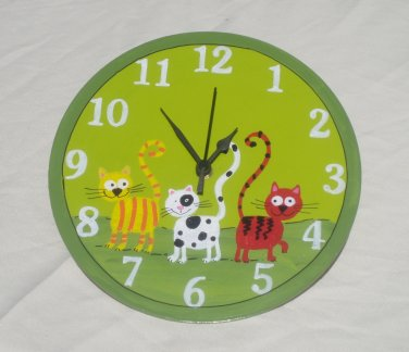 Green Wall Clock With Cats Painting