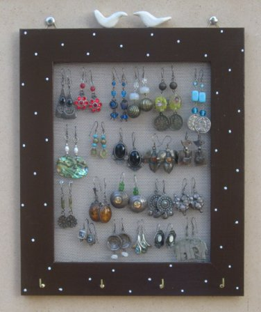 Brown Hand Painted Jewelry Display Rack