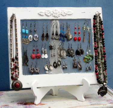 Earring Holder On A Stand / cream Shabby Chic / 25 - 40 Earrings / 6-10 Necklaces
