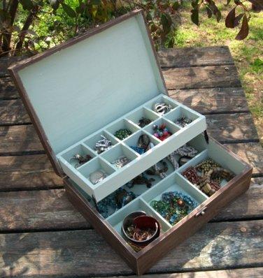 Brown Shabby Chic Wooden Jewelry Box