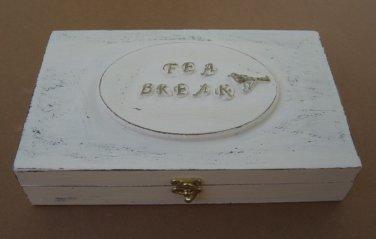 Tea box cream / shabby chic / Tea bag box / Tea cabinet
