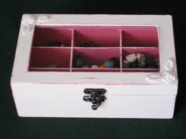 Cream & Pink Shabby Chic Wooden Jewelry Box