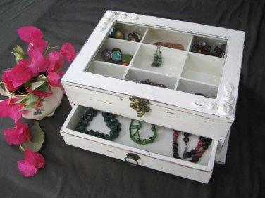 Cream & Brown Shabby Chic Wooden Jewelry Box