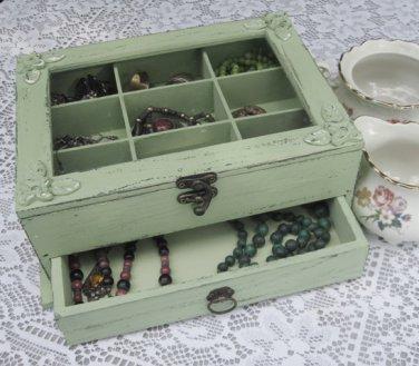 "Light Green ""Shabby Chic"" Wooden Jewelry Box"