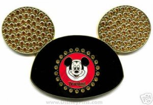 Disney Golden Mickey Mouse Ear Hat (Jumbo/Jeweled) Pin