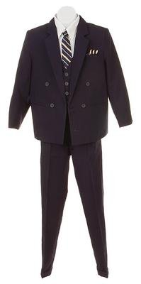 Silver Suit Infant Toddler Boy's DB 3 piece Navy Suit with Shirt & Tie