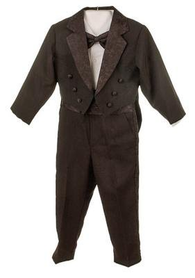 Silver Suit Newborn Infant Boy's Black Tuxedo