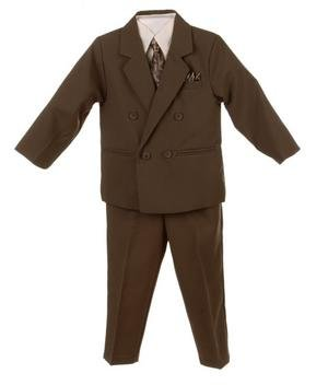 Silver Suit Infant Toddler Boy's DB 3 piece Olive Suit with Shirt & Tie