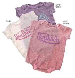 Von Dutch Basic Newborn Infant Girl's 1x1 Rib Logo Creeper