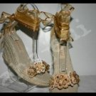 KHAKI BEIGE TAN flower floral Espadrilles Wedge sz 6.5-10