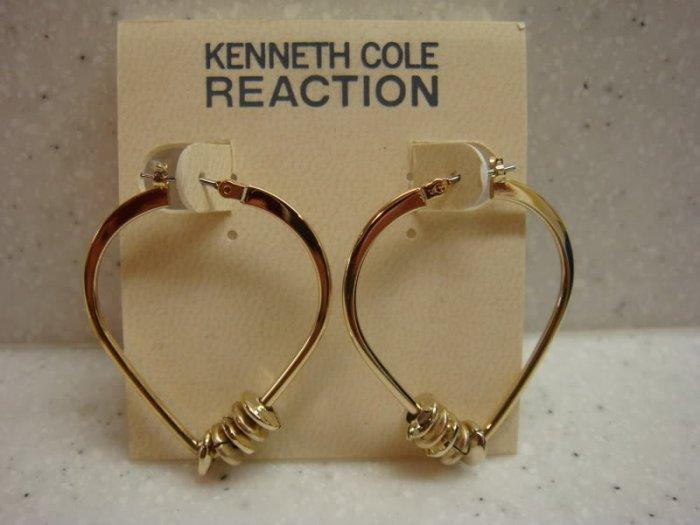 Kenneth Cole Reaction Gold Oval shaped hoop earrings