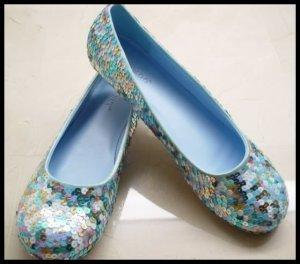 Blue Multi-Color Sequined Ballet Flats Shoes 9