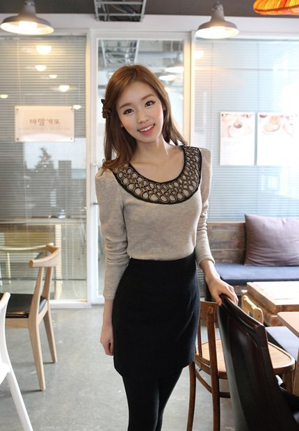 Beige Knitwear Sweater Top