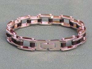Stainless Steel & Rubber Bike Chain Link Bracelet 8�