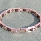 """Unisex Stainless Steel & Rubber Bracelet 8"""""""