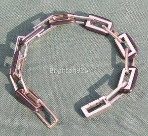 Stainless Steel & Black Rubber Link Bracelet  - 81/4 ""